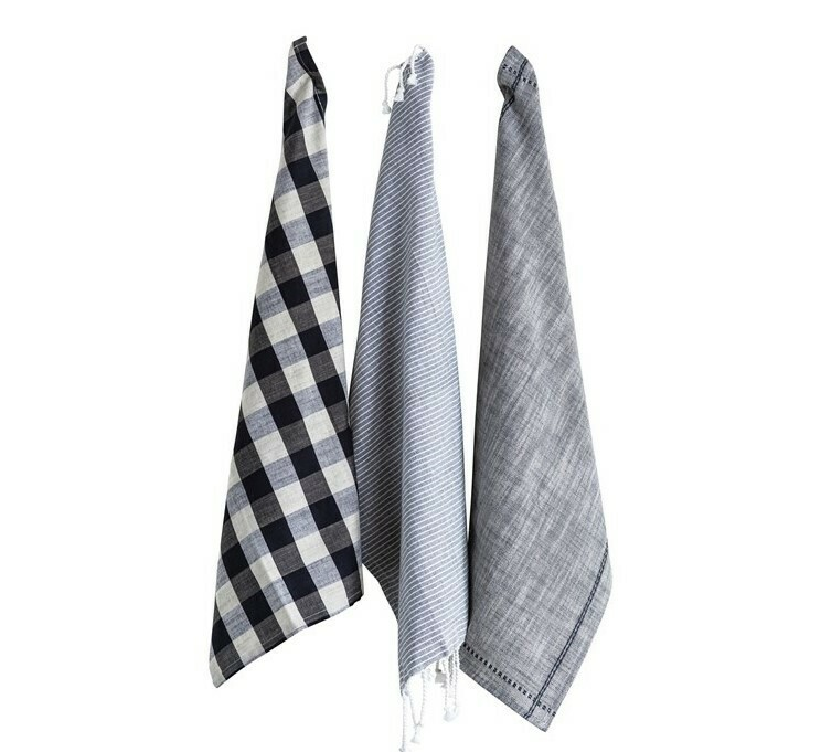 Gingham & Stripe Tea Towels Set Of 3