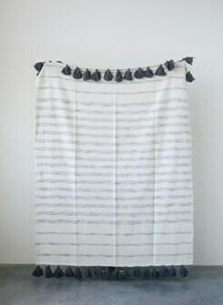 Grey/Cream Stripe Cotton Woven Throw- Creative Co-op