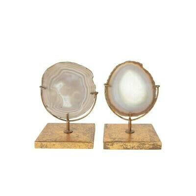 Agate Decor On Gold Stand- White Tones