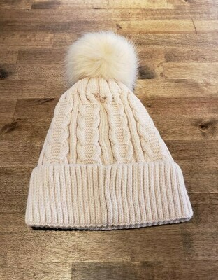 Cable Knit Pom Beanie- Beige
