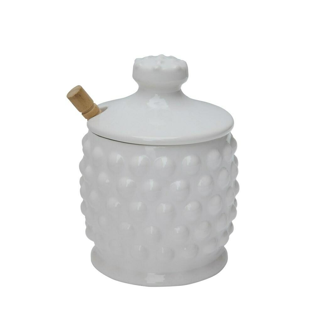 White Ceramic Hobnail Honey Pot
