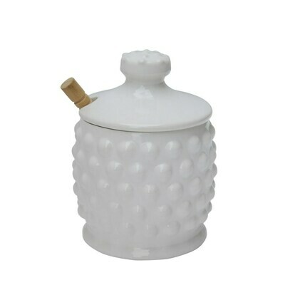 White Ceramic Hobnail Honey Pot