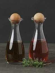 Oil & Vinegar Bottles w/ Oak Stoppers - Set Of 2