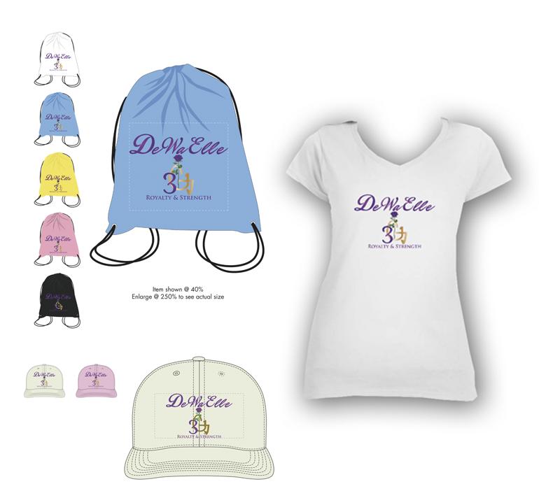 Ladies T Shirt, Cap/Hat, & Draw String Bags - SET