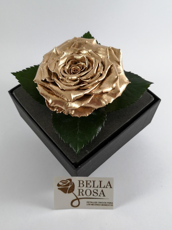 Rosa Preservada Dorada Caja Acrílica