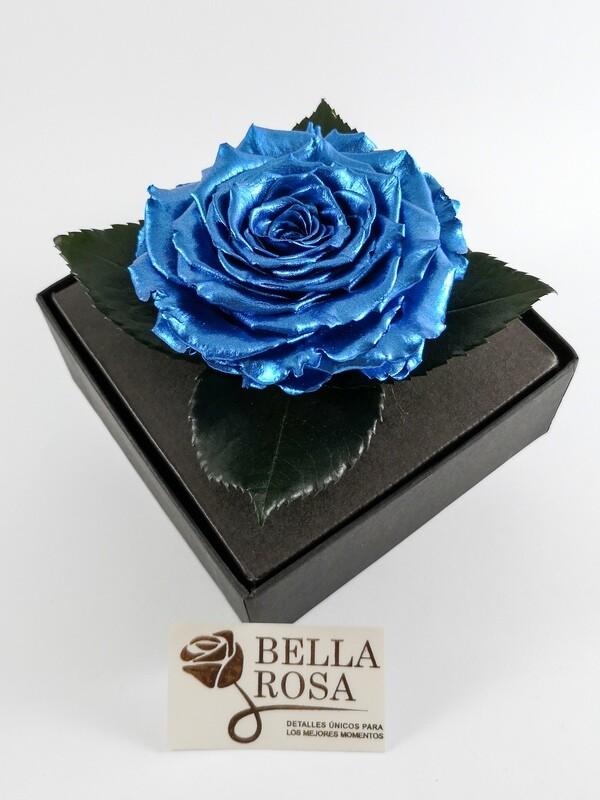 Rosa Preservada Silver Deep Blue Caja Acrílica