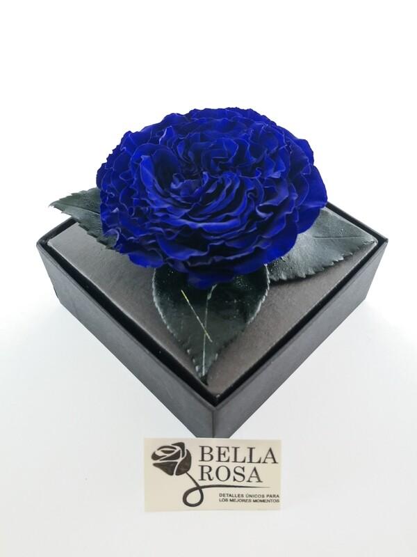 Rosa Preservada Carmen Azul Caja Acrílica