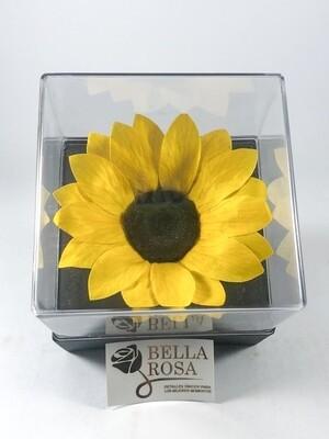 Rosa Preservada Girasol Caja Acrílica