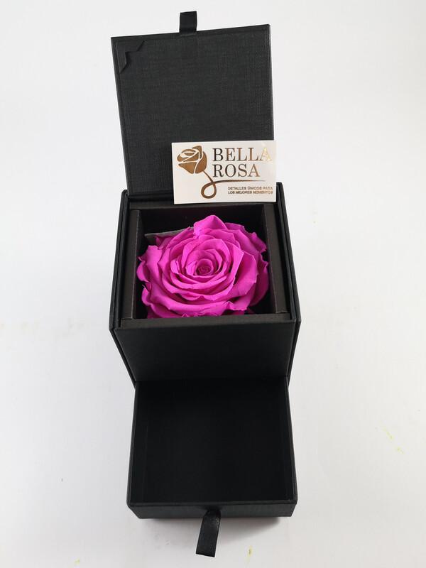 Caja elegante negra con gaveta 10 cm x 9 rosa natural preservada color fucsia (7x7cm)