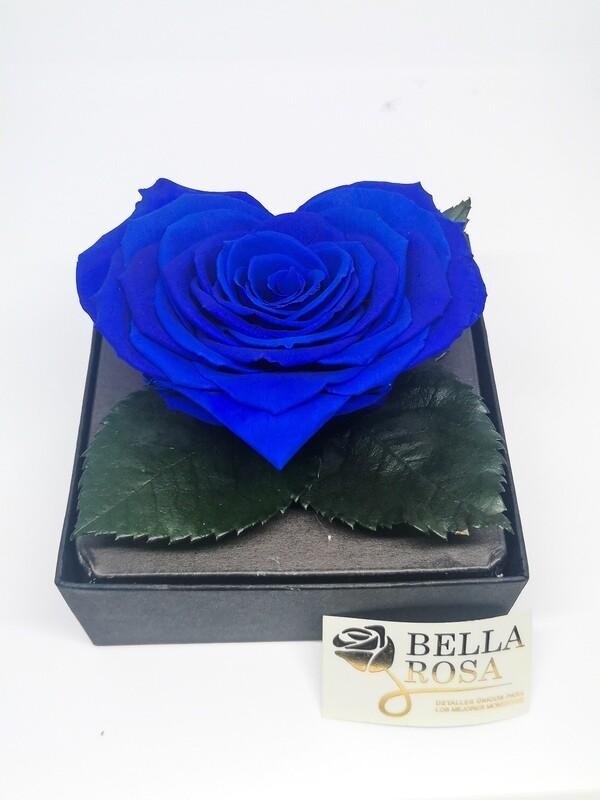 Rosa Preservada Azul en Forma de Corazón Caja Acrílica