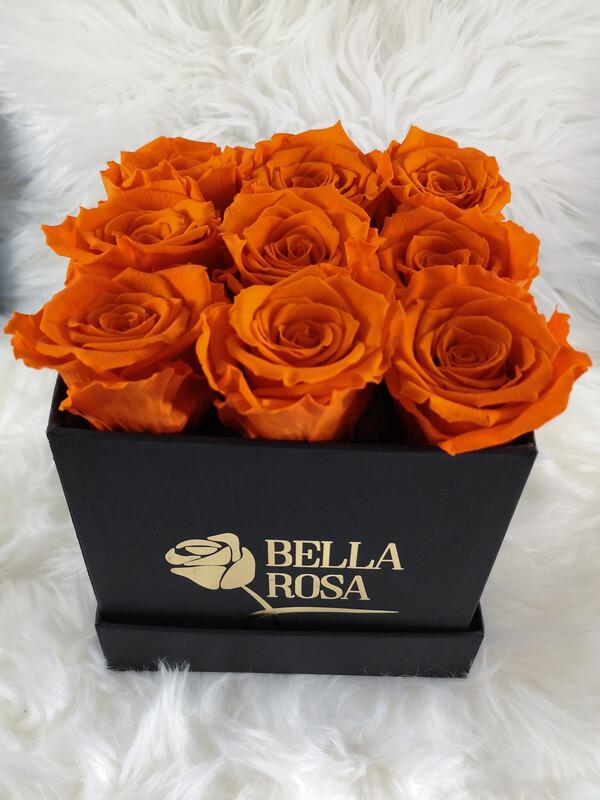 9 rosas preservadas, en caja cuadrada, redonda