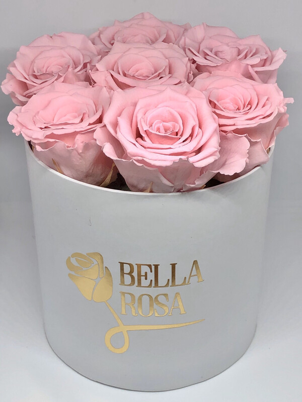 Caja redonda con 8 rosas preservada
