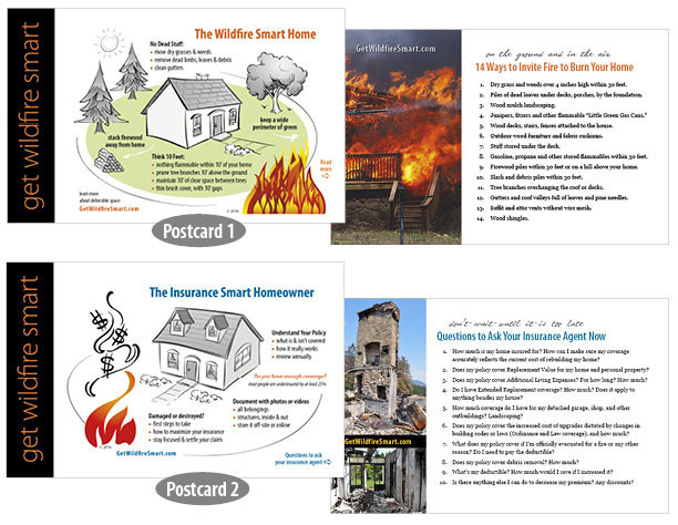 "Set of 2 ""Get Wildfire Smart"" Reference Cards GWScards-set"
