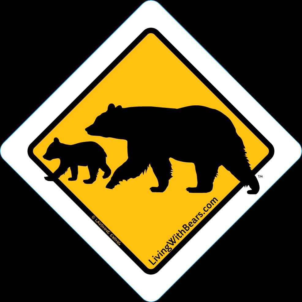 Black Bear Sign Artwork - Mama Bear & Cub (GOLD)