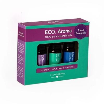 ECO. Travel Essentials Aroma Trio (Lavender, Rosemary, Sinus Clear)