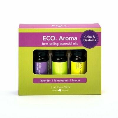 ECO. Calm & Destress Aroma Trio (Lavender, Lemon, Lemongrass)