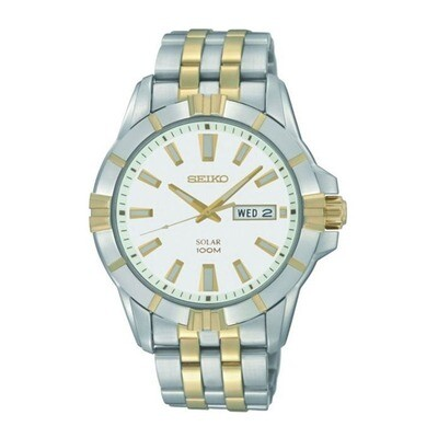 Seiko solar powered stainless steel two-tone bracelet watch