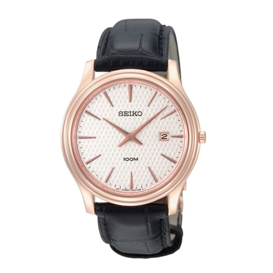 Gents Seiko Quartz Rose Gold Plated Strap Watch