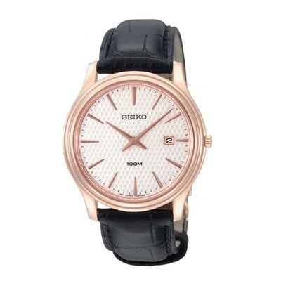 Gents Seiko Quartz Rose Gold Plated Strap Watch