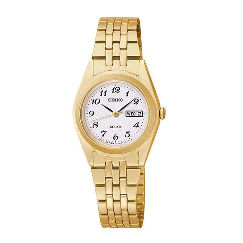 Ladies Solar Quartz Gold Plated Watch