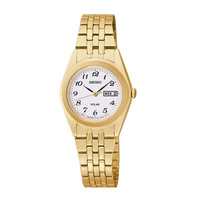 Ladies Solar Quartz Gold Plated Watch