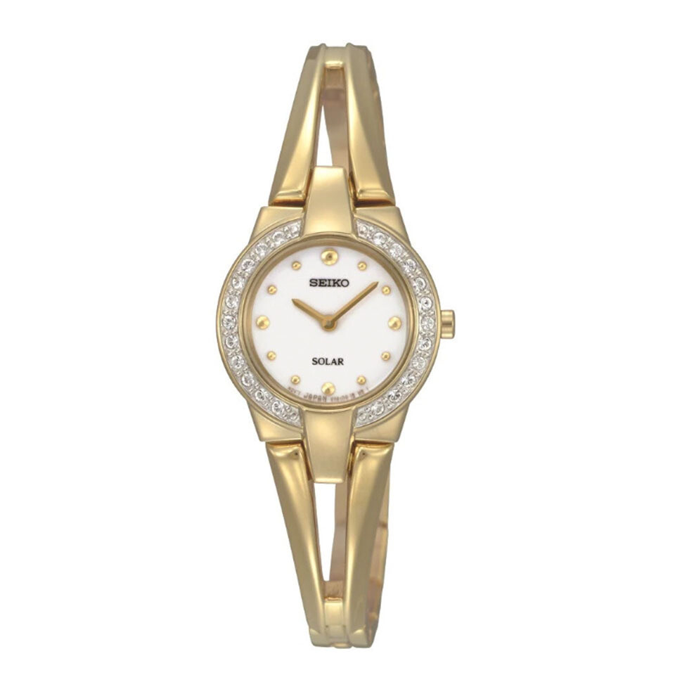 Ladies Seiko Solar Gold Plated Watch With Crystal Set Bezel
