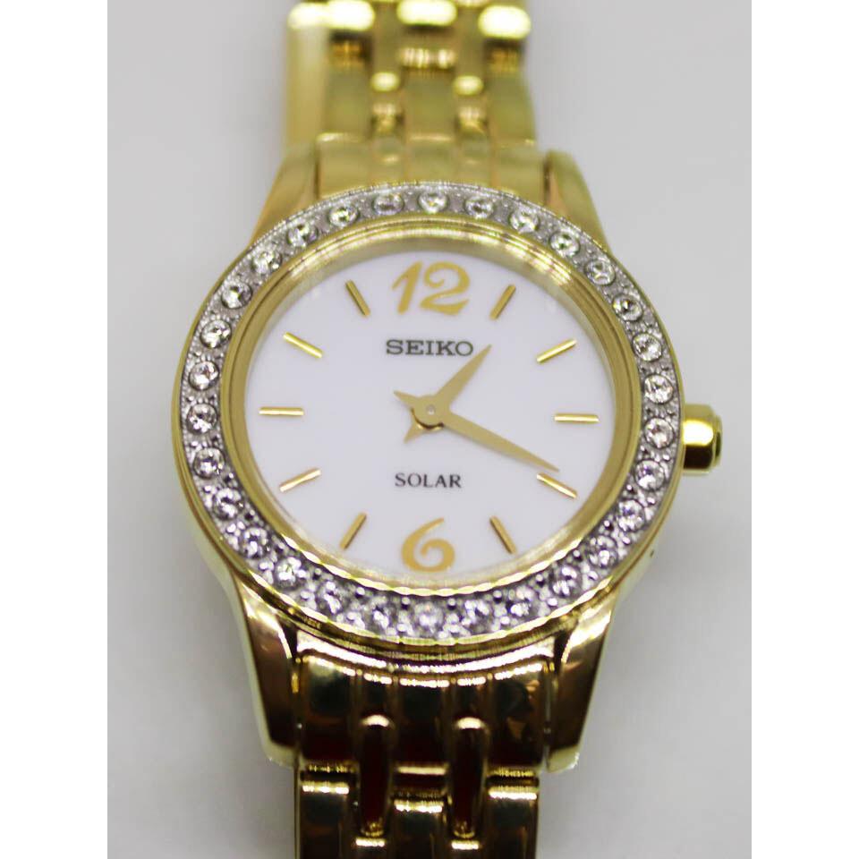 Ladies Seiko Solar Quartz Gold Plated Watch