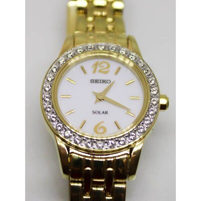 Ladies Seiko Solar Quartz Gold Plated Watch