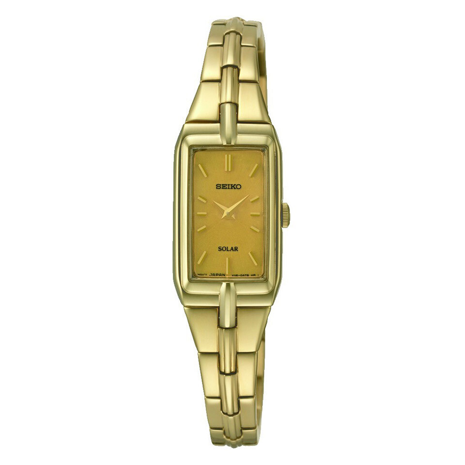 Ladies Solar Gold Plated Watch With Rectangular Dial