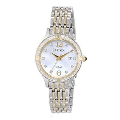 Ladies Seiko solar quartz bi-colour bracelet watch
