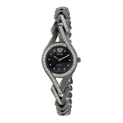 Ladies Seiko Solar Quartz Black Ion Plated Steel Watch