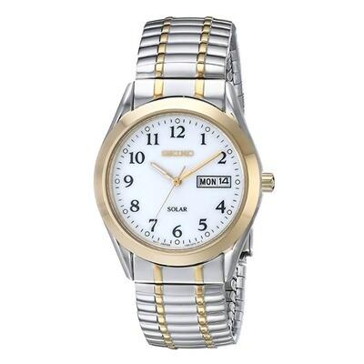 Gents Seiko Quartz Solar Stainless Steel Bi-Colour Watch