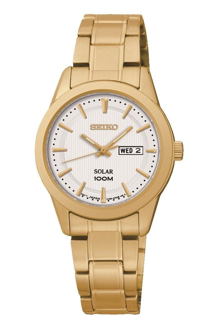 Seiko SUT164P1 Ladies Gold Plated Solar Watch