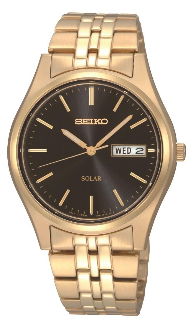 Seiko SNE044P9 Solar Quartz Gold Plated Watch