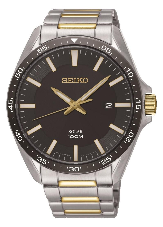 Seiko SNE485P1 Gents Solar Powered Quartz Bi-Colour Watch
