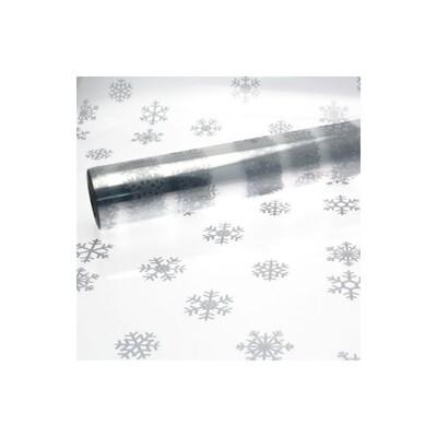 Cellophane Silver Snowflake Print 80cmx100m