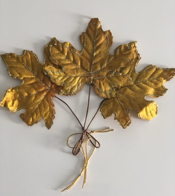 Hanging Fabric Maple Leaves - Antique Gold