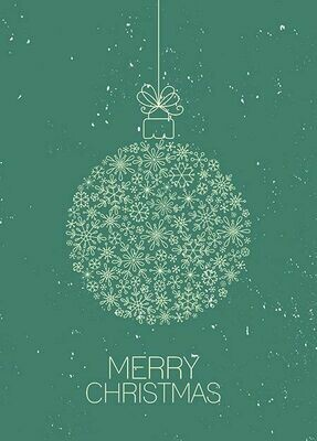 Folding Card Merry Christmas Bauble