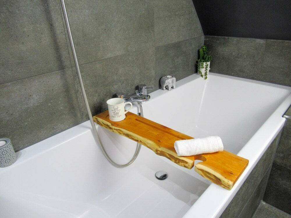 Live Edge Solid Yew wood Bespoke Rustic Bath Caddy Tray Tablet Holder
