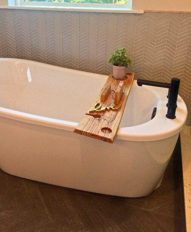 Live Edge Solid Italian Olive wood Bespoke Rustic Bath Caddy Tray Tablet Holder