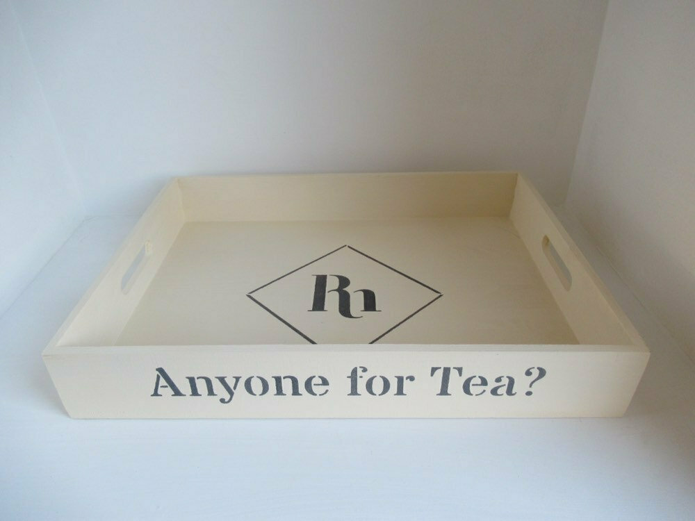 Anyone for Tea? decorative  shabby chic wooden tray  Free UK P&P