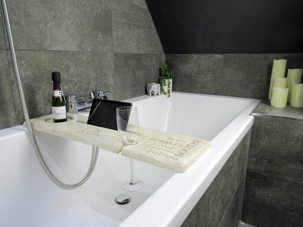Bespoke Luxury Solid Distressed cream wood Rustic Bath Caddy Tray Tablet Holder