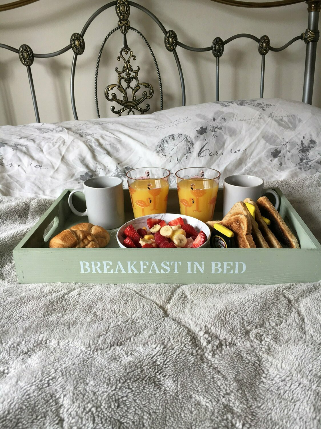 Breakfast in Bed decorative  shabby chic wooden tray  Free UK P&P
