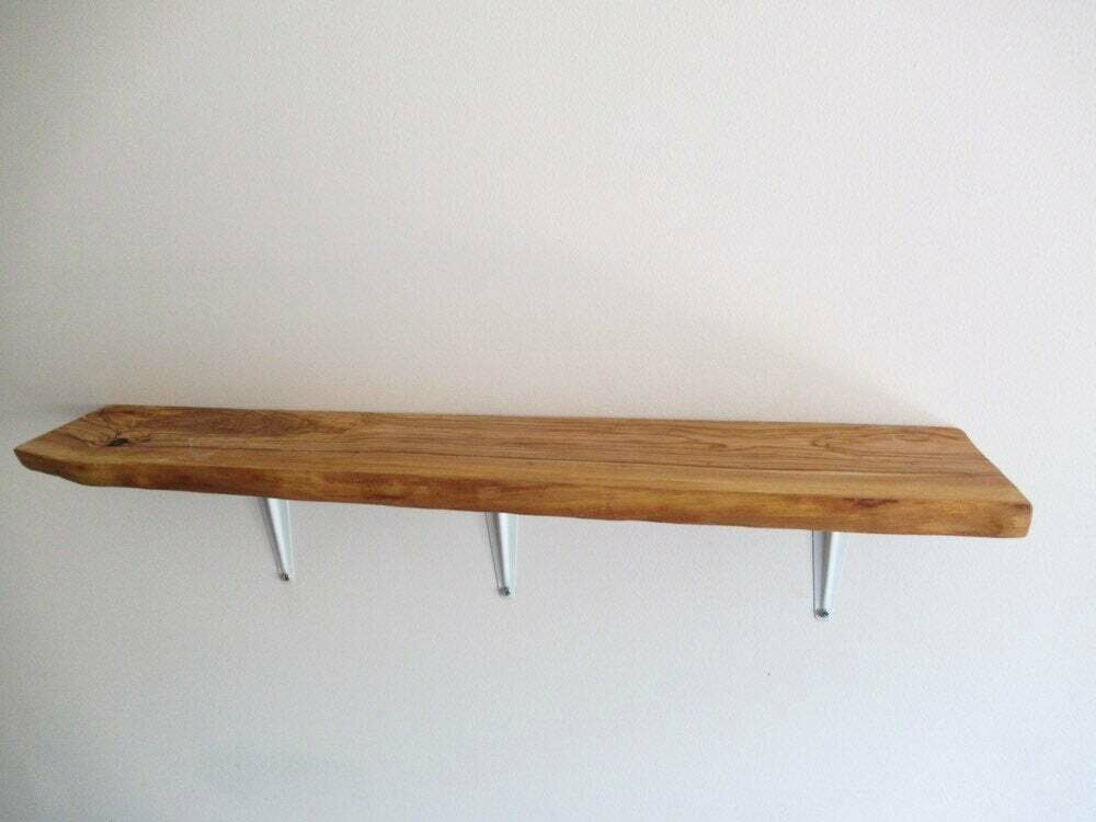 Live Edge Italian Olive rustic solid wood Shelf floating shelf