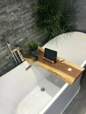 Double Live Edge Solid Brown Oak wood Bespoke Rustic Bath Caddy Tray Tablet Holder