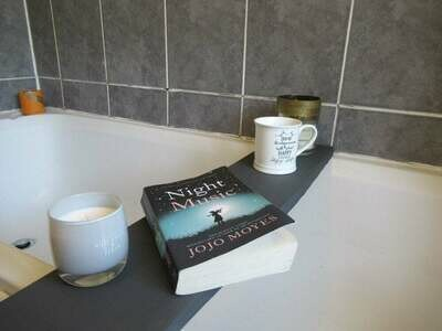 Bespoke Luxury Solid Dark Grey wood Rustic Bath Caddy Tray Tablet Holder
