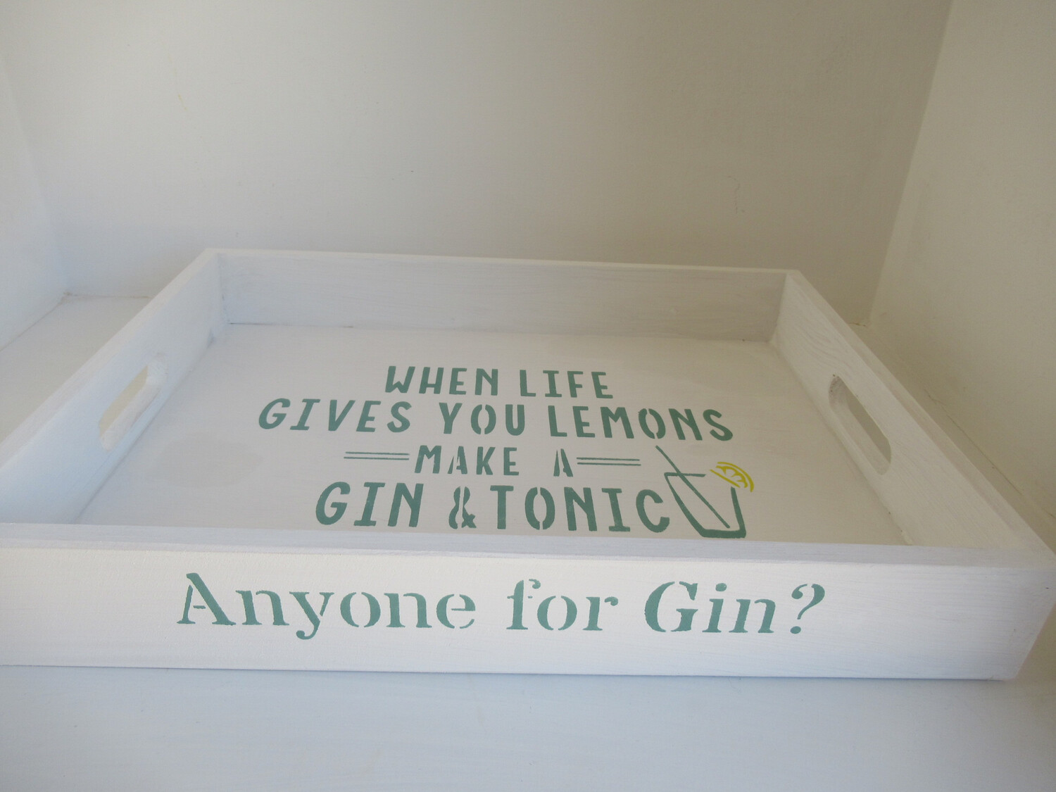 Anyone for Gin? decorative shabby chic wooden tray  Free UK P&P