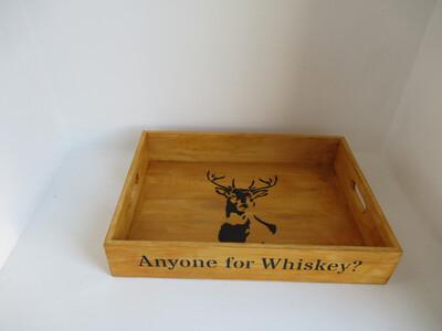 Anyone for Whiskey? decorative shabby chic wooden tray  Free UK P&P