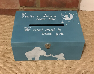 Baby shower gender weight date guess bespoke personalised wooden box