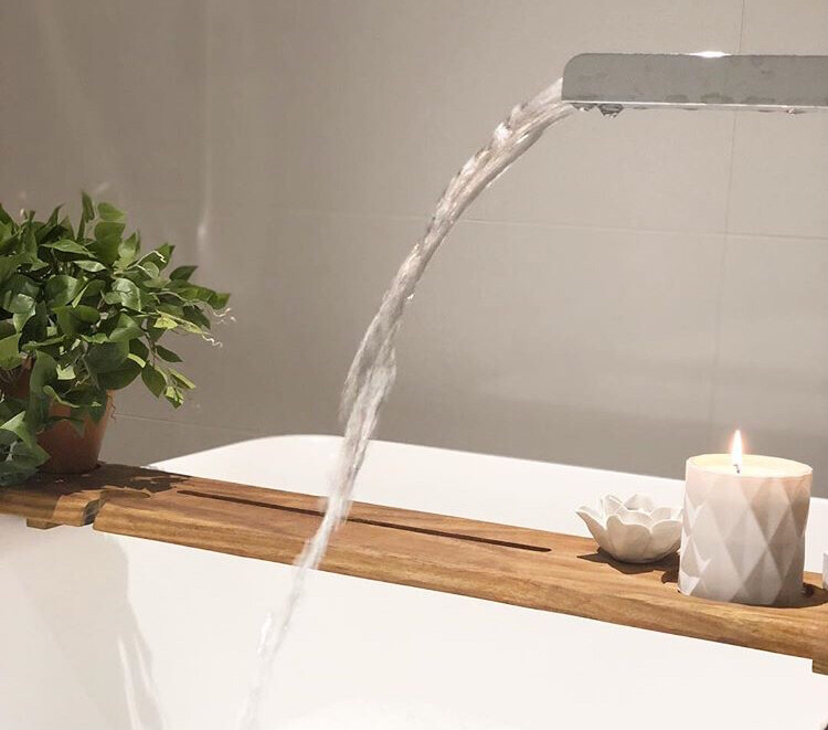 Bespoke Luxury Solid Kiaat wood Rustic Bath Caddy Tray Tablet Holder